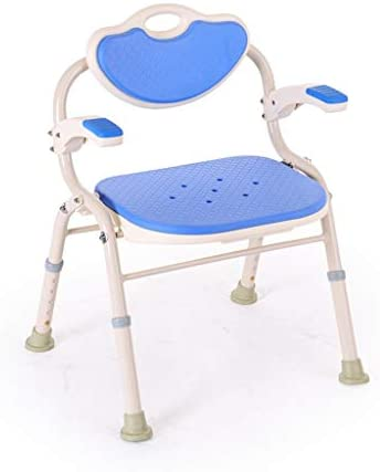 ZYDSD Duschstuhl Badestuhl Falten Aluminiumlegierung Ältere Bad Hocker Badezimmer Duschstuhl Mit Rückenlehne Mit Armlehnen Badestuhl, Kinder, Behinderte (Color : Blue)