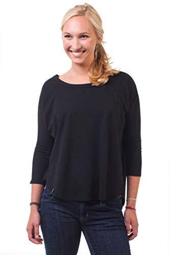 (PuraKai Womens Mid-Sleeves Hemp Shirt l Summer Dressy Casual Blouse Tops l S - Black)