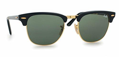 Ray Ban RB2176 Folding Clubmaster 901 Shiny Black Sunglasses 51mm
