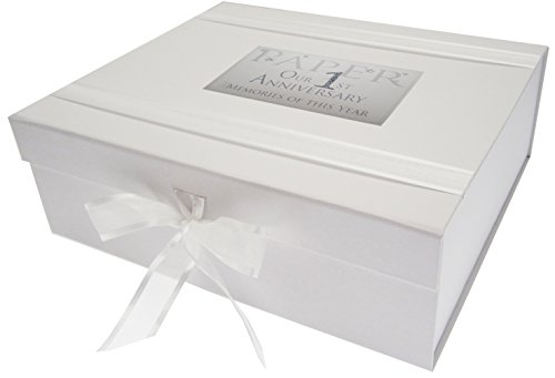 Cotton Keepsake (white cotton cards AW1LK Large 1st Paper Anniversary Memories of This Year Keepsake Box Glitter and Words by WHITE COTTON CARDS)