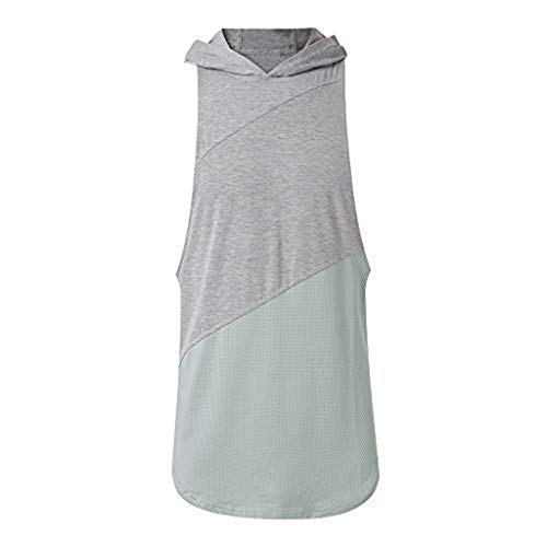 iYYVV Mens Gyms Fitness Muscle Mesh Hoodie Sleeveless T-Shirt Vest Tank Tops Gray