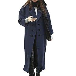 Ifomo Winter Double Breasted Lapel Navy Woolen Coat For Women Long Style Pea Coat Navy Xs