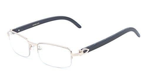 Debonair Slim Half Rim Rectangular Metal & Wood Eyeglasses / Clear Lens Sunglasses - Frames (Rose Gold & Black Wood, - Gold Metallic Rose Sunglasses