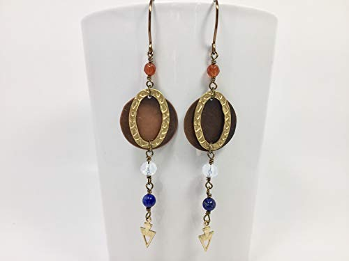 Moonstone, Lapis Lazuli, Carnelian Drop Earrings, Antiqued Copper Disc, Brass Wire And Handmade Hooks