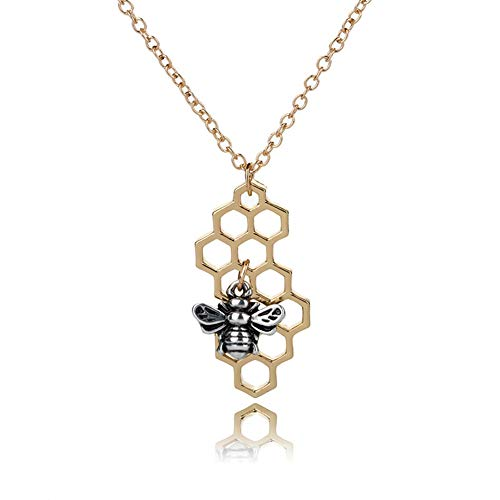 Vintage Sweater Bee Hive Necklace Pendant Geometric Square Honeycomb Cute Insect Necklace for Women Sweater Clavicle Chain Fashion Jewelry ()
