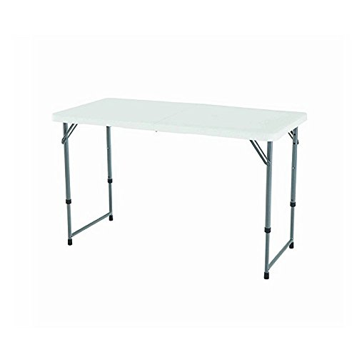 LTE Collapsing Picnic Table, Folding Utility Table, Sturdy & Durable Construction, Anti-Rust Coated, 4 Ft Height Adjustable, Easy To Store, Easy Transportation, White Top + eBook Home Decor by LTE
