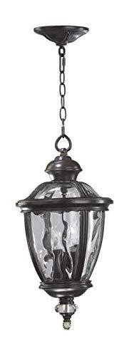 Three Light Clear Glass Baltic Granite Clear Rib Hanging Lantern