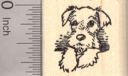 Schnauzer Natural (Miniature Schnauzer Puppy Dog with Natural Ears Rubber Stamp)