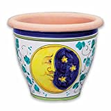 Handmade Bell-shaped Pot with Sun and Moon From Italy