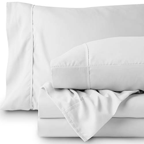Bare Home Premium 1800 Ultra-Soft Microfiber Collection Sheet Set - Double Brushed - Hypoallergenic - Wrinkle Resistant - Deep Pocket (Twin, White)