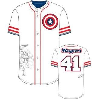 Marvel Rogers Base Jersey White Men Top Tshirt (L)