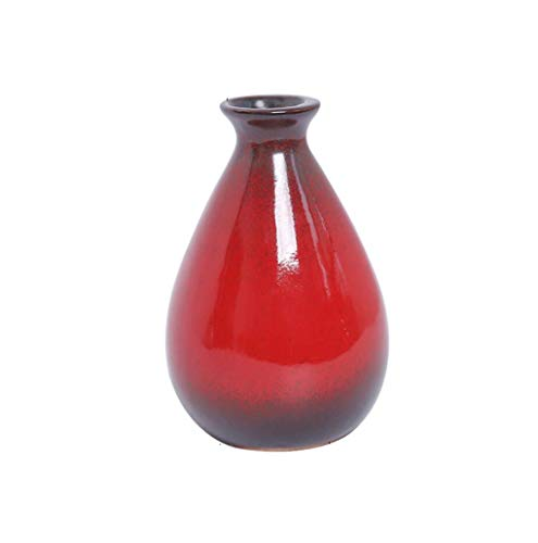 GT Round Clay Pottery Flower Vase, Decorative Vase Home Decor Living Room Office Place Settings - Tall Vases Red