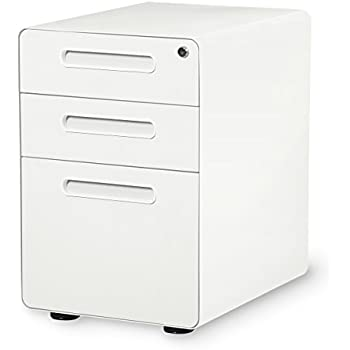 DEVAISE 3 Drawer Mobile File Cabinet With Anti Tilt Mechanism,Legal/Letter  Size (White)