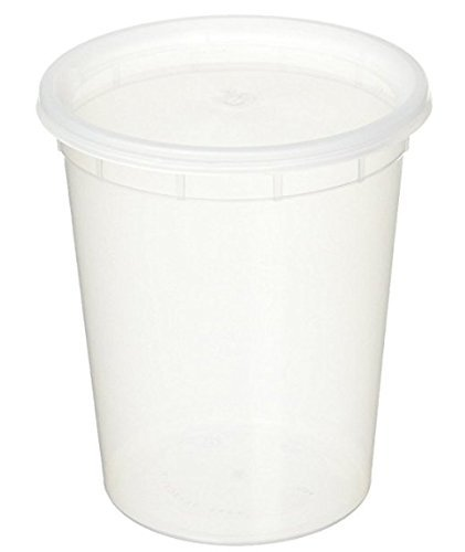 Food Service Plastic Container (32oz plastic soup/Food container with lids (100 Pack))