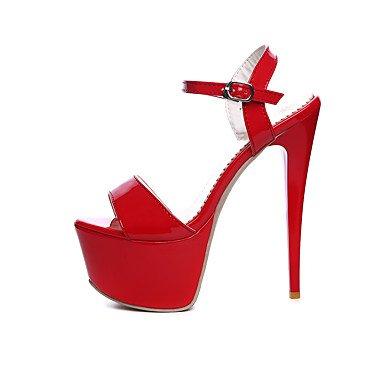 LvYuan Mujer-Tacón Stiletto-Confort-Sandalias-Boda Vestido Fiesta y Noche-Cuero Patentado-Negro Rojo Blanco Red