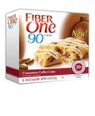Fiber One 90 Calorie Cinnamon Coffee Cake 6 Bars Per Box (4 Pack)
