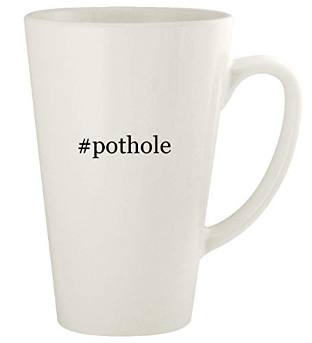 #pothole - 17oz Hashtag Ceramic Latte Coffee Mug Cup, White (Implementing Change Patterns Principles And Potholes 4th Edition)