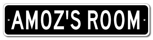 AMOZ'S ROOM - Kids room sign, Amoz Room Aluminum door sign for Boys - 4'x18' Quality Aluminum Sign