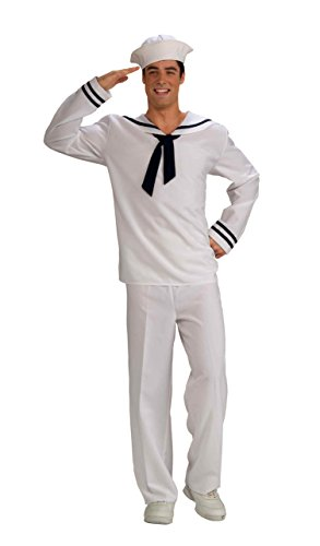 [Forum Novelties Men's Anchors Aweigh Sailor Costume, White/Blue, Standard] (Funny Uniform Costumes)