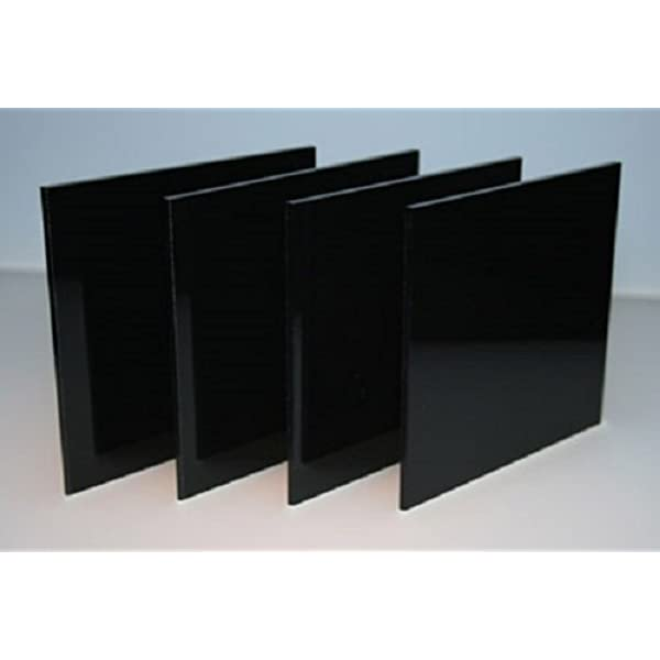 "BLACK OPAQUE ACRYLIC PLEXIGLASS 1//2/"" X 12/"" X 12/"" PLASTIC SHEET"