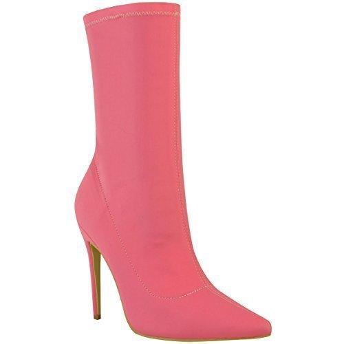Damen Stiefel im Stiletto-Look - elastischer Schaft - spitz zulaufend  40 EU|Pink Lycra