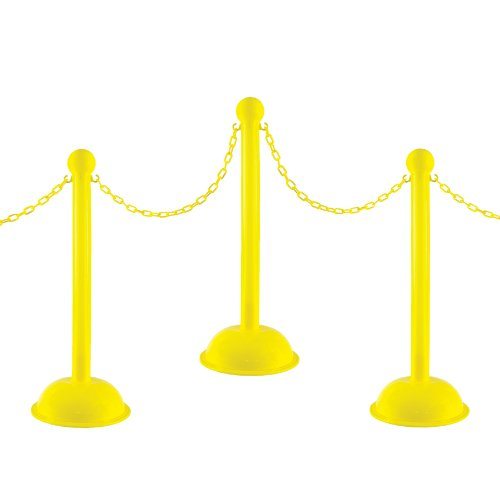 Mr. Chain 71302-4 Yellow Plastic Stanchion Kit with 30' of 2'' HD chain and C-Hooks, Pack of 4 by Mr. Chain