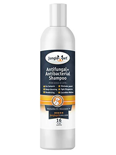 Antifungal + Antibacterial Shampoo for Dogs & Cats with Ketoconazole & Chlorhexidine - Use for Ringworm, Hot Spots, Itch & Irritation -16oz