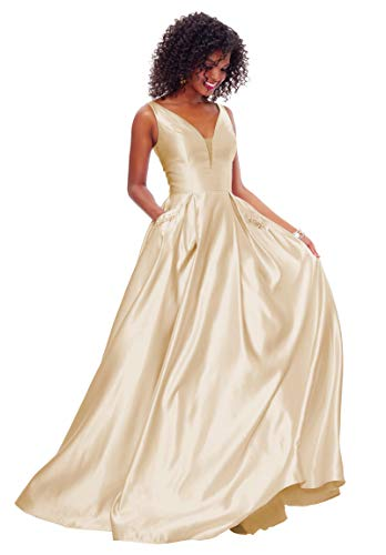 Zhongde Women's Open Back Beaded Satin V Neck Evening Party Dress Long Prom Dresses with Pockets Champagne Size 2
