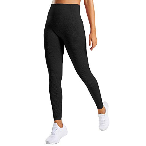 Manufacture Women's High Waist Yoga Pants Workout Tummy Control Gym Yoga Seamless Leggings Black