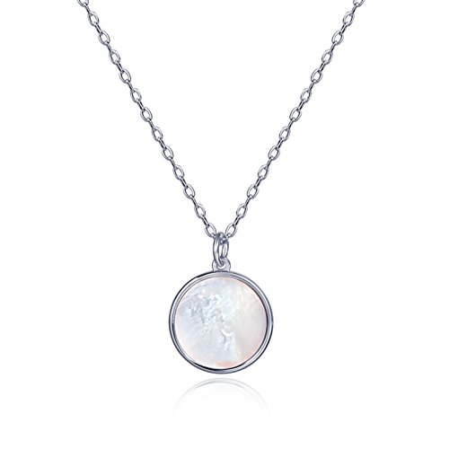 (S.Leaf Minimalism Round Mother of Pearl Necklace Sterling Silver Circle Disc Pendant Shell Pendant (Silver))