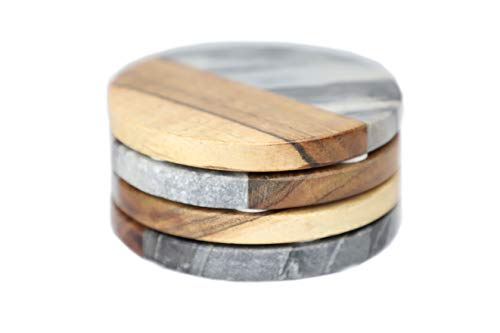Coasters For Drinks | Set of 4, Luxury Marble and Wood Coasters, Housewarming Gift for Home Decor