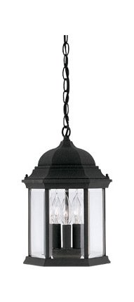 Black 3 Light 9.5in. Cast Aluminum Hanging Lantern from the Devonshire Collection by Designers Fountain