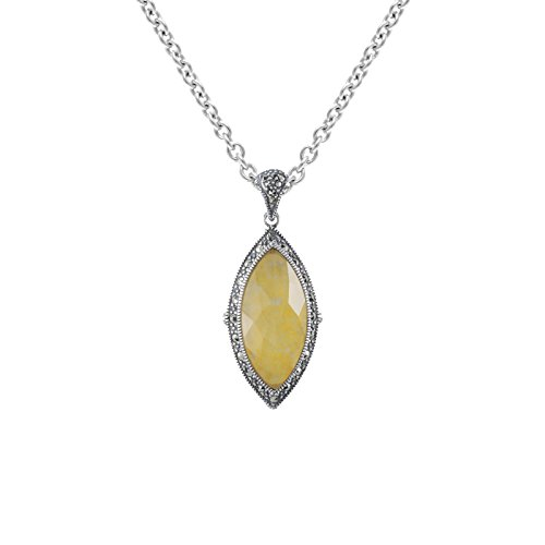 Aura 925 Sterling Silver Crystal Yellow Quartz Doublet & Marcasite ()