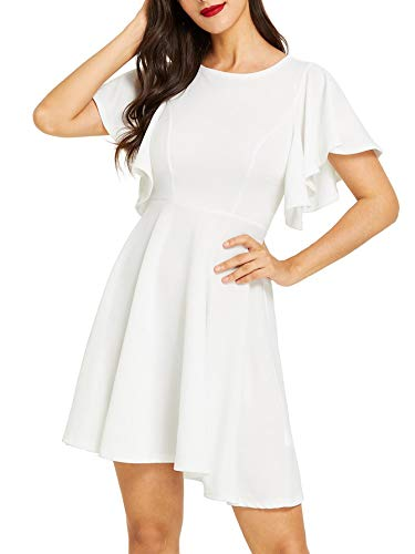 Romwe Women's Stretchy A Line Swing Flared Skater Cocktail Party Dress White S