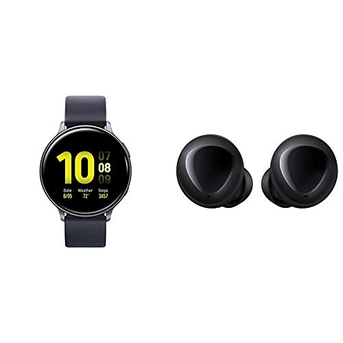 Samsung Galaxy Watch Active 2 (44mm, GPS, Bluetooth), Aqua Black (US Version) with Galaxy Buds True Wireless Earbuds (Wireless Charging Case Included), Black – US Version