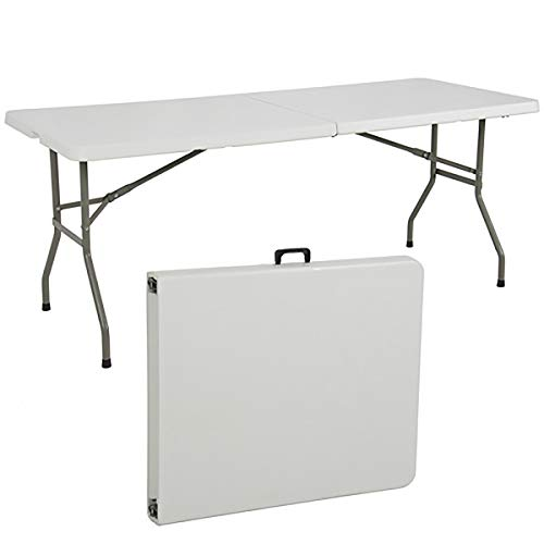 6ft Indoor Outdoor Portable Folding Plastic Dining Table for Picnic, Party, Camp w/Handle, Lock ()