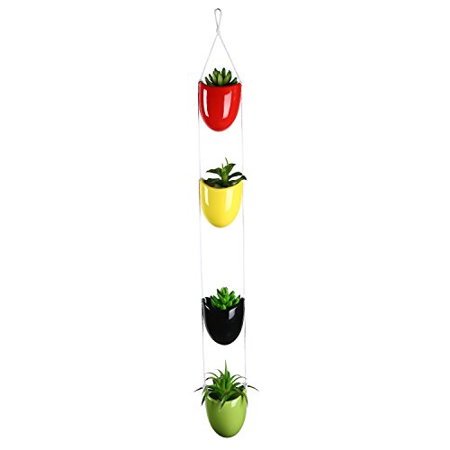 Multi Colored Ceramic - Multicolored Ceramic Rope Hanging Planter Set w/ 4 Flower Pots Plant Containers, Decorative Display Bowls