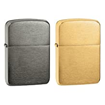 Zippo Lighter Set - 1941 Replica Black Ice and Brushed Brass Pack of 2
