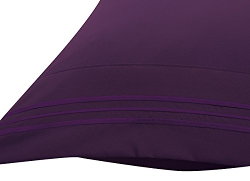 Bluedotsky Bedding - Highest Quality 100% Durable Polyester Bed Set with Deep Pockets Fitted Sheet - Premium Hotel Collection - Wrinkle, Stain and Fade Resistant - 4 Piece - Cal King, Eggplant/Purple