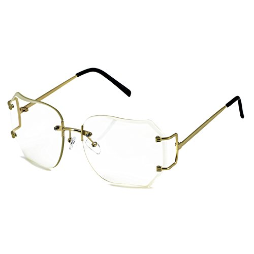 RIMLESS OVERSIZED CLASSIC VINTAGE RETRO Style EYE GLASSES Clear Gold (Clear Lens, - Style Eyeglasses Retro