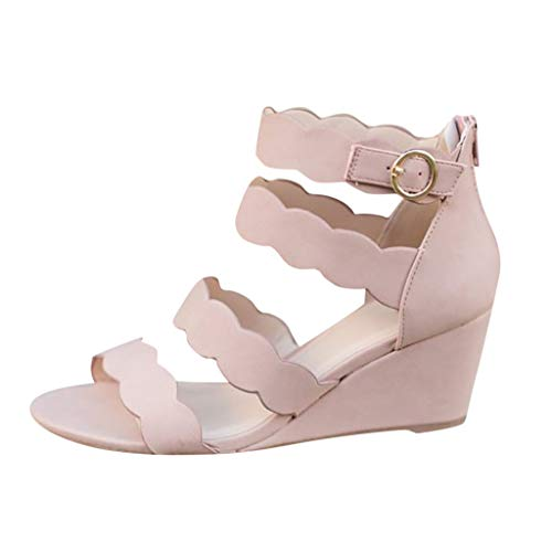 (Women's Wave Bohemian Platform Wedges Shoes Ladies Summer Open Toe Buckle Ankle Hollowed Cool Feel Casual Sandals QAQ (Pink, US:9))