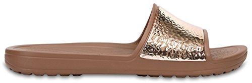 crocs Women's Sloane Embellished Slide Sandal, Bronze/Bronze, 6 M US