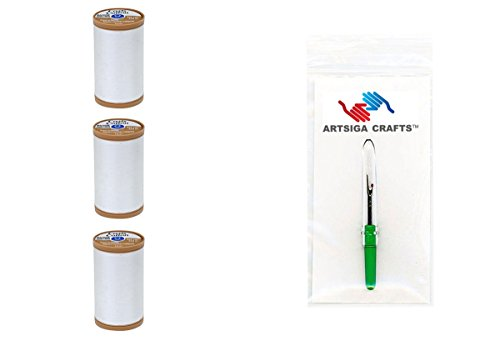Coats & Clark Sewing Thread Machine Quilting 100% Egyptian Cotton Thread 350 Yards (3-Pack) White Bundle with 1 Artsiga Crafts Seam Ripper S975-0100-3P
