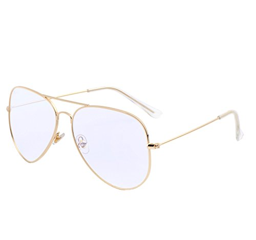 YANQIUYU 3025 Classic Lightweight Aviator Glasses Non Prescription Eyeglass Frames With Clear Lens for Women,Gold - Buy Frames Only Glasses