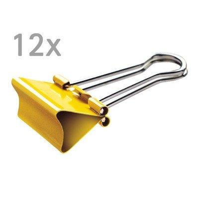Foldback-Klemmer mauly, 19 mm, 12 St./Ktn., gelb