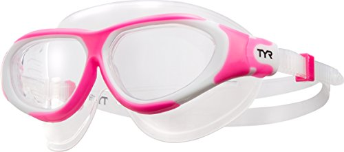 TYR Flex Frame Swim Mask Goggles, Pink/White, Small