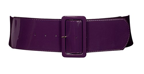 Accessories Purple Fashion (eVogues Plus Size Wide Patent Leather Fashion Belt Purple - One Size Plus)