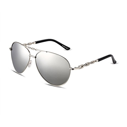Mens Vintage Black UV400 Metal Frame Classic Aviator Sunglasses Reflective Revo Color Lens Rimmed - Polarized & Superlight