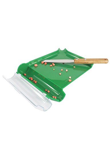 Right Hand Pill Counting Tray with Spatula (Green, Stainless Steel Blade + Wood Handle)