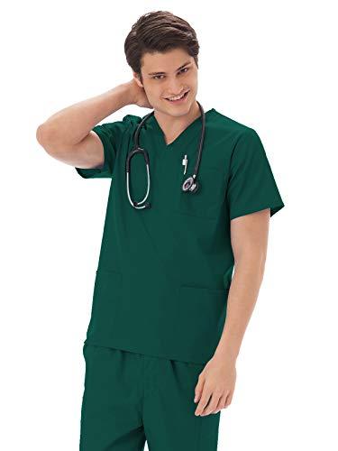 - Fundamentals 14869 Unisex Three Pocket Scrub Top Hunter Green L